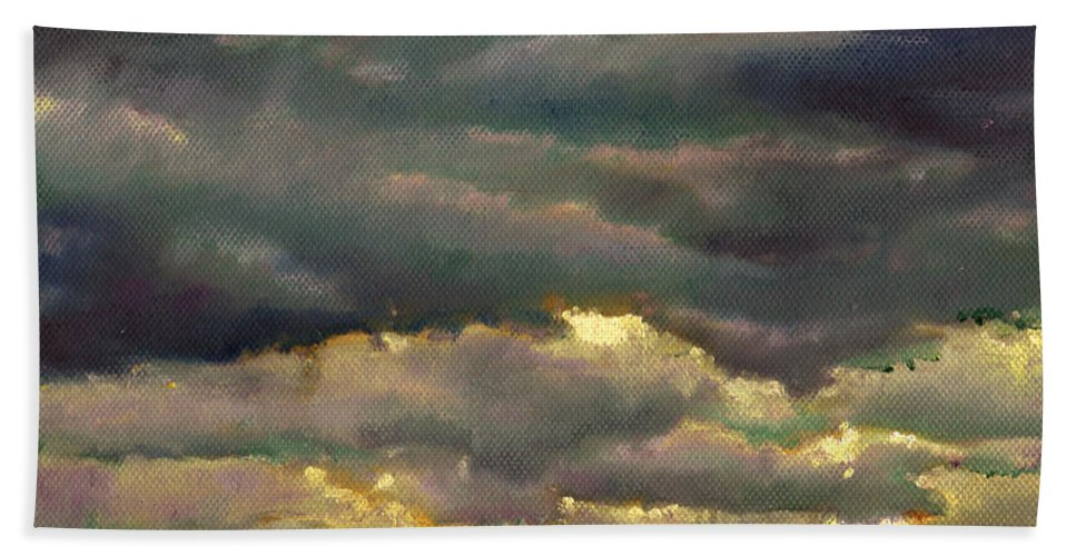 Skies Bath Sheet featuring the painting Cloud Burst by Helen White