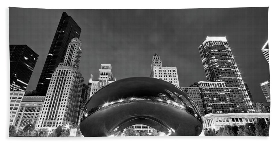 3scape Bath Towel featuring the photograph Cloud Gate and Skyline by Adam Romanowicz