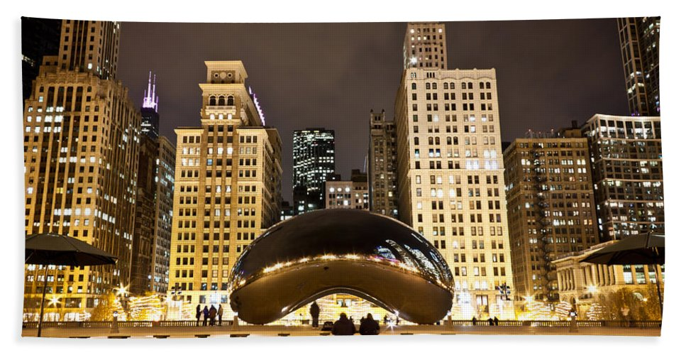 Chicago Bath Sheet featuring the photograph Cloud Gate And Skyscrapers by Anthony Doudt