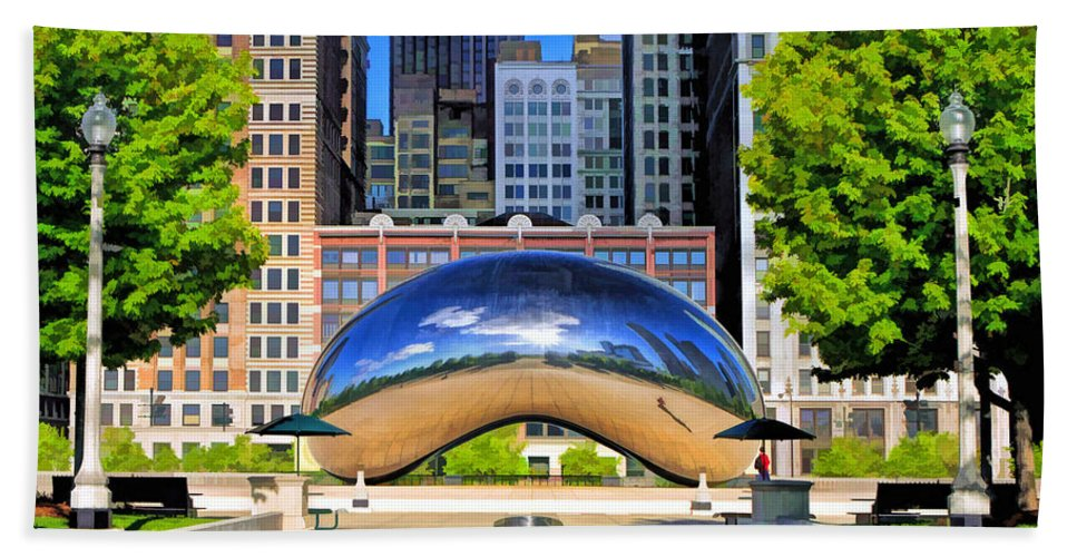 Chicago Hand Towel featuring the painting Cloud Gate Park by Christopher Arndt