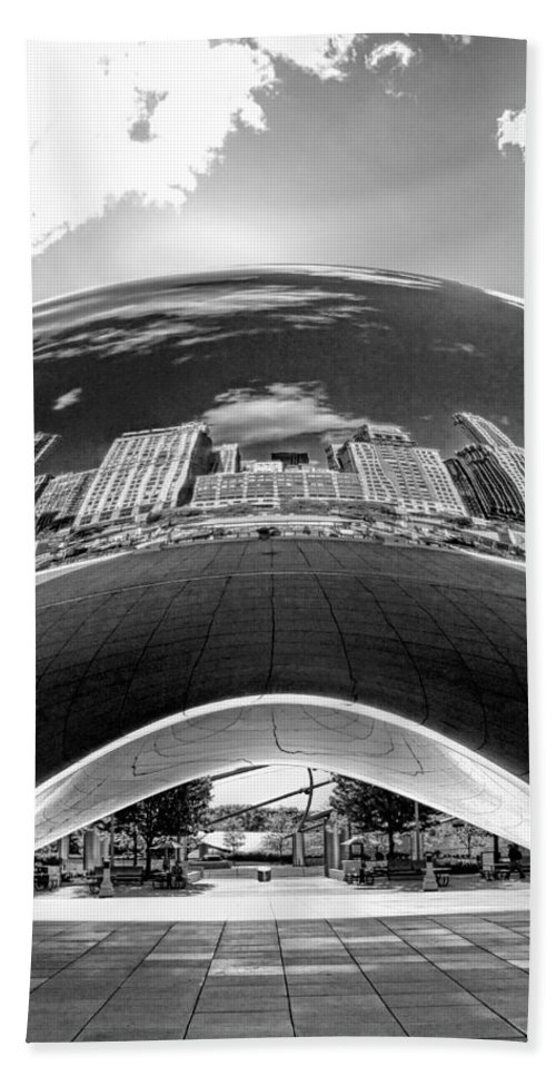 Chicago Hand Towel featuring the photograph Cloud Gate Under The Bean Black And White by Christopher Arndt