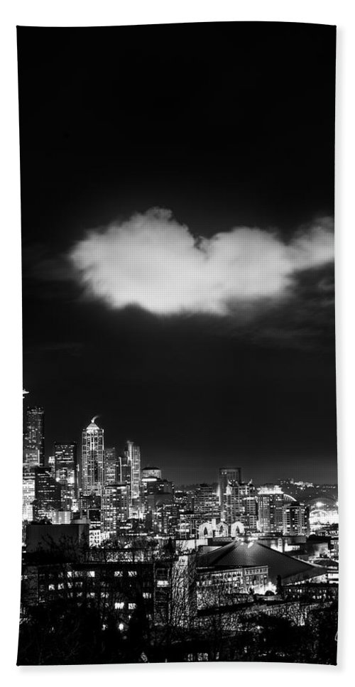 Seattle Hand Towel featuring the photograph Cloud Over Seattle - Vertical by Lori Grimmett