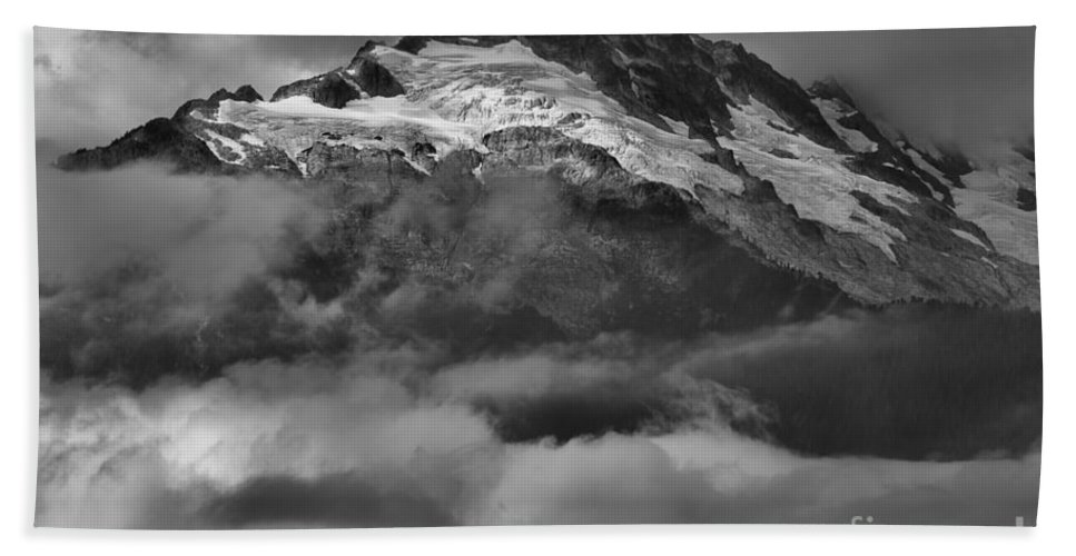 Glacier Mountains Bath Sheet featuring the photograph Cloud Smothered Peaks by Adam Jewell