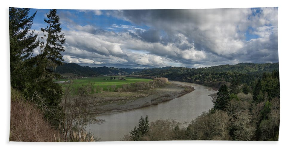 Dramatic Sky Hand Towel featuring the photograph Clouds Above Eel River by Greg Nyquist