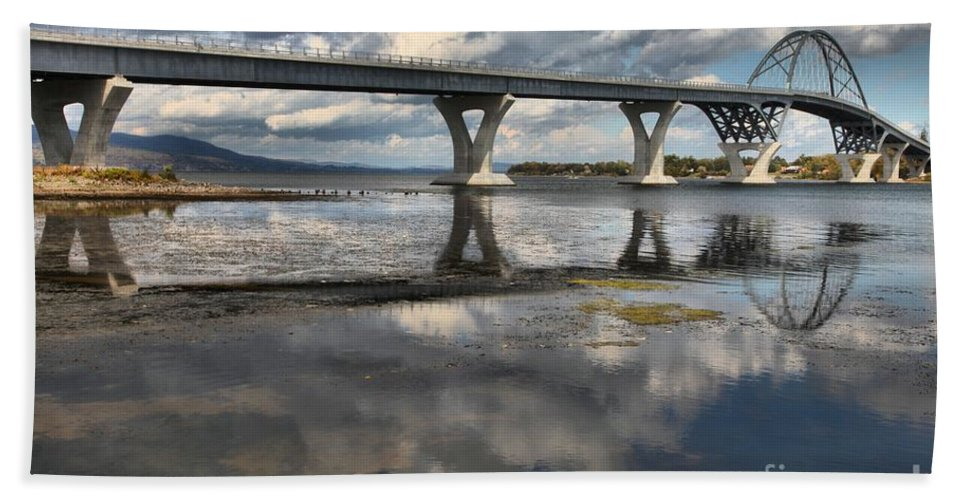 Arch Bridge Bath Sheet featuring the photograph Clouds And Reflections Over Lake Champlain by Adam Jewell