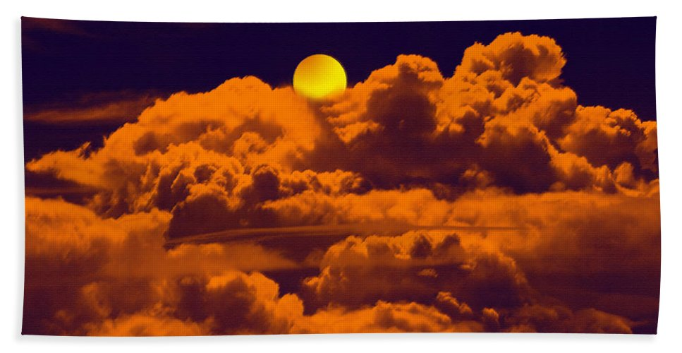 Clouds Hand Towel featuring the digital art Clouds And The Moon by Bliss Of Art