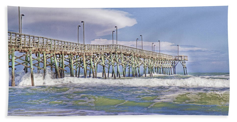 Topsail Bath Sheet featuring the photograph Clouds And Waves by Betsy Knapp