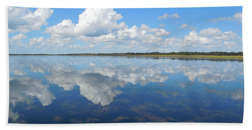 Landscape Hand Towel featuring the photograph Clouds In The Lake by Steve Stones