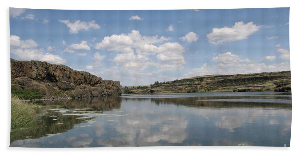 Lake Bath Sheet featuring the photograph Clouds On Water by Rich Collins