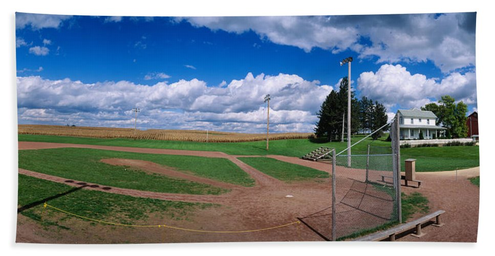 Photography Hand Towel featuring the photograph Clouds Over A Baseball Field, Field by Panoramic Images