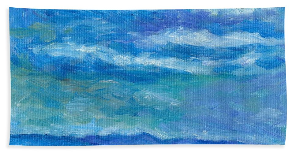 Landscape Hand Towel featuring the painting Clouds Over The Blue Ridge by Kendall Kessler