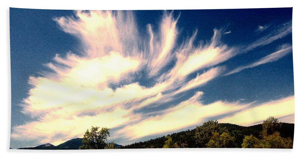 Clouds Hand Towel featuring the photograph Clouds Over The Mountains by Jeff Swan