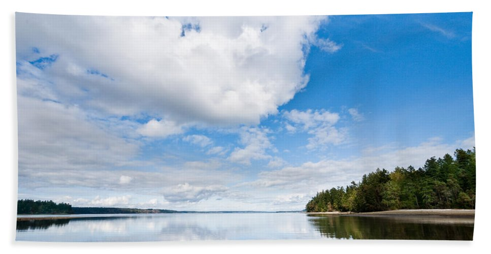 Bay Hand Towel featuring the photograph Clouds Reflected In Puget Sound by Jeff Goulden