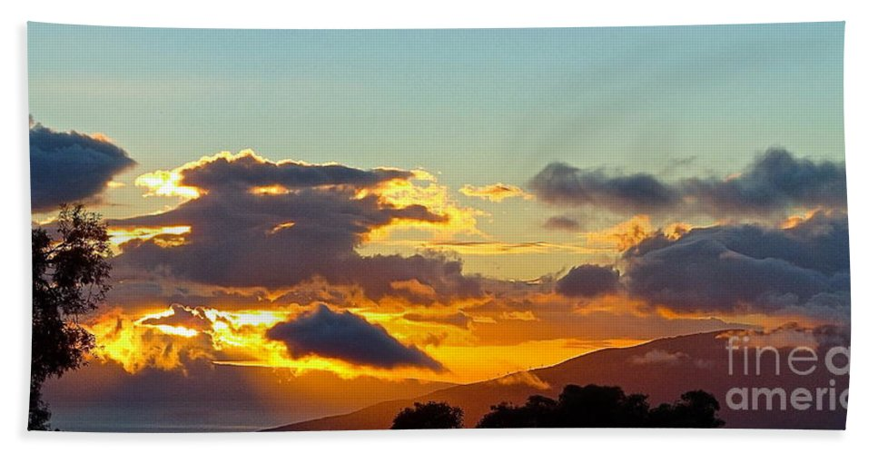 Sunset Hand Towel featuring the photograph Clouds With Colors by Cheryl Cutler