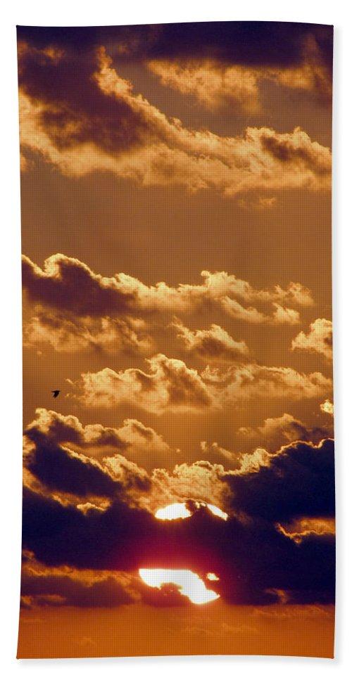 Sunset Hand Towel featuring the photograph Key West Cloudy Sunset by Bob Slitzan