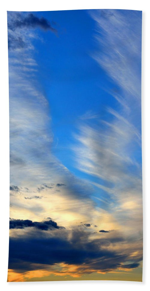 Landscape Bath Sheet featuring the photograph Cloudy Sunset by Pam Romjue