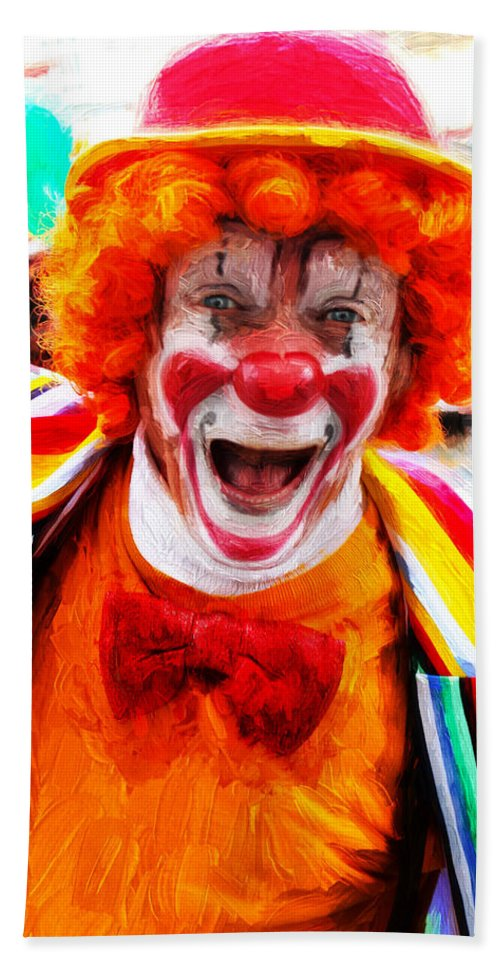 Clown Bath Sheet featuring the photograph Clown by Carlos Diaz