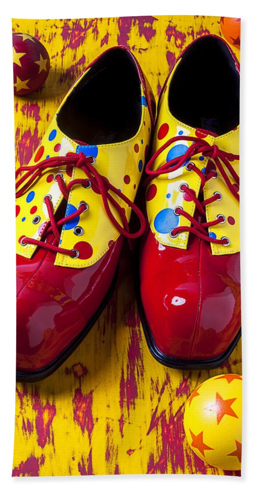 Clown Hand Towel featuring the photograph Clown Shoes And Balls by Garry Gay