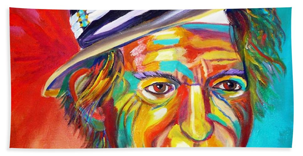 Keith Richards Hand Towel featuring the painting Clowning by To-Tam Gerwe