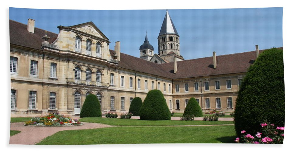 Cloister Hand Towel featuring the photograph Cluny Abbey - Burgundy by Christiane Schulze Art And Photography