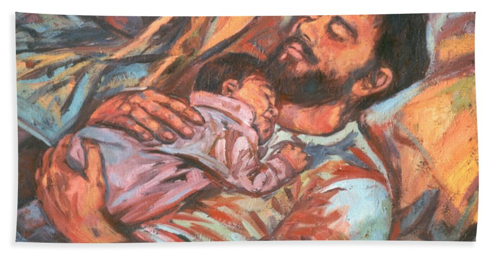 Figure Bath Sheet featuring the painting Clyde And Alan by Kendall Kessler