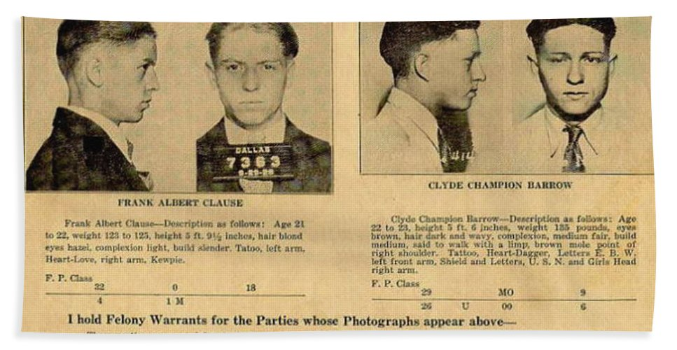 Clyde Barrow Wanted Poster Hand Towel for Sale by Bill Cannon