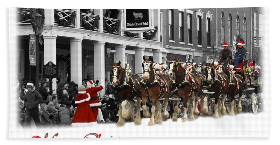 8 Horse Team Bath Sheet featuring the photograph Clydesdale Team Christmas Card by Randall Branham