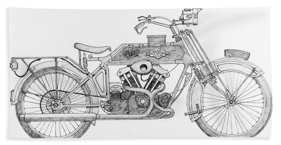 Stephen Bath Sheet featuring the drawing Clyno-harley-davidson by Stephen Brooks