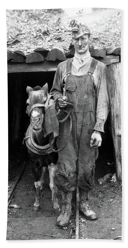 1940 Bath Sheet featuring the photograph Coal Miner & Mule 1940 by Granger