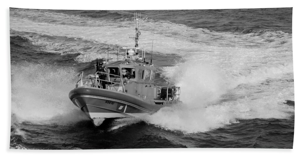 Harbor Hand Towel featuring the photograph Coast Gaurd In Action In Black And White by Rob Hans
