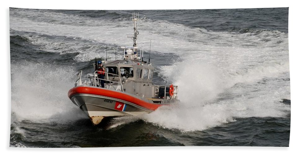 Harbor Hand Towel featuring the photograph Coast Guard In Action by Rob Hans