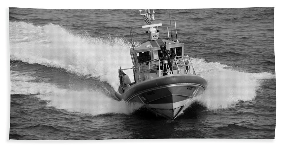 Harbor Hand Towel featuring the photograph Coast Guard In Black And White by Rob Hans