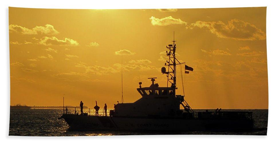 Sky Hand Towel featuring the photograph Coast Guard In Paradise - Key West by Bob Slitzan