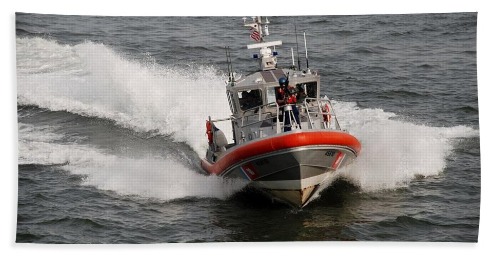 Harbor Hand Towel featuring the photograph Coast Guard by Rob Hans