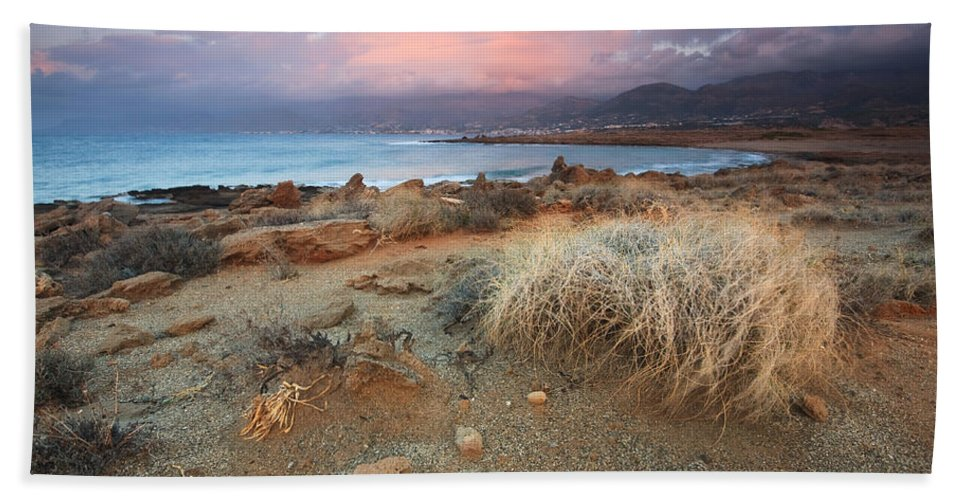 Greece Hand Towel featuring the photograph coast of Crete 'I by Milan Gonda