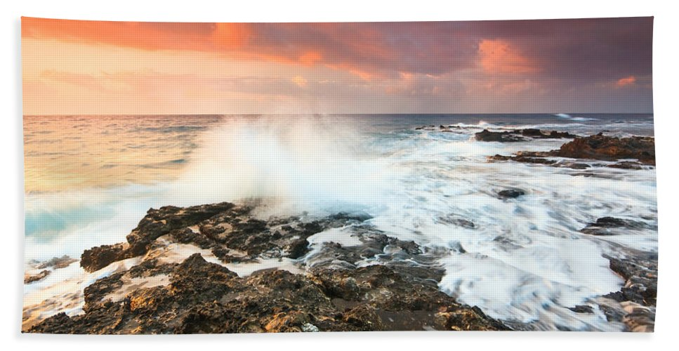 Crete Hand Towel featuring the photograph coast of Crete 'III by Milan Gonda
