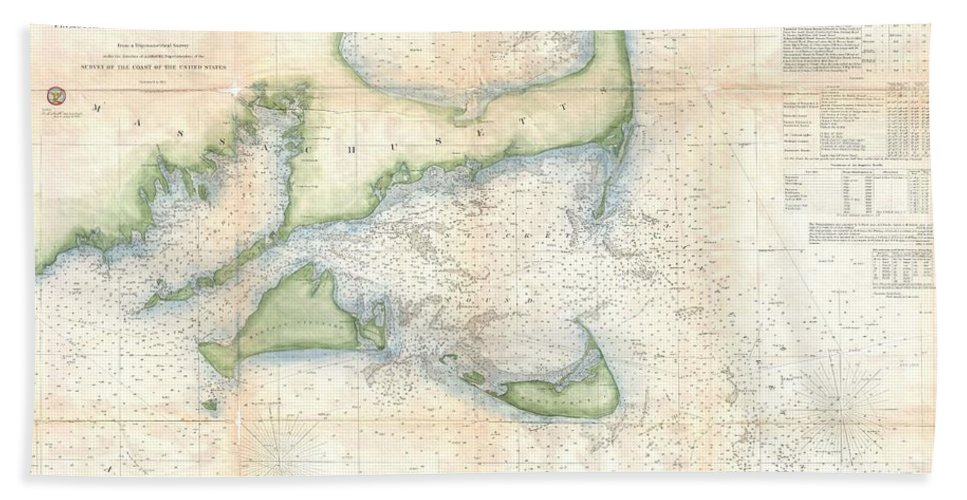Bath Sheet featuring the photograph Coast Survey Map Of Cape Cod Nantucket And Marthas Vineyard by Paul Fearn