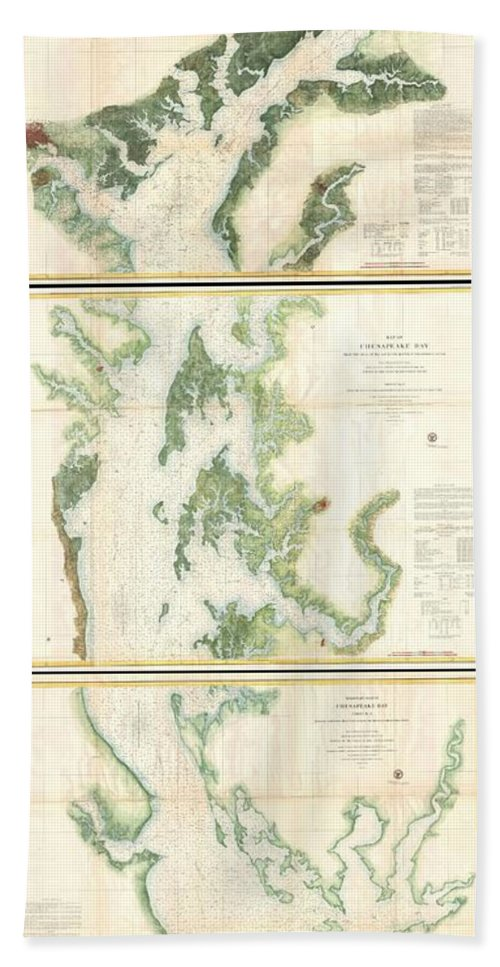 Bath Sheet featuring the photograph Coast Survey Map Of The Chesapeake Bay by Paul Fearn