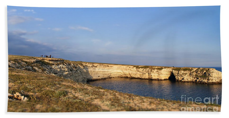 Sea Hand Towel featuring the photograph Coastal Area On Crimea Ukraine. by Sophie McAulay