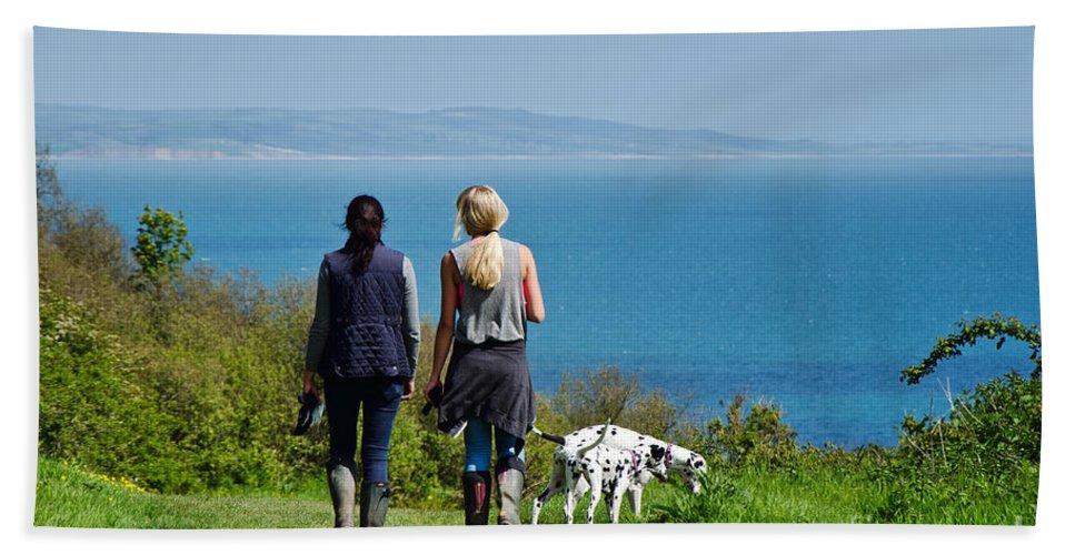 Coastal Path Bath Sheet featuring the photograph Coastal Path Walk by Susie Peek