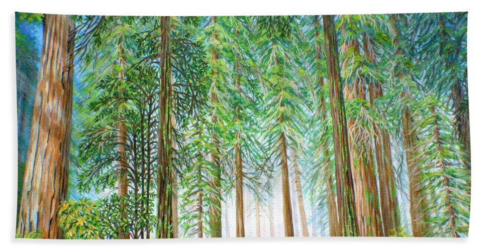 Trees Bath Sheet featuring the painting Coastal Redwoods by Jane Girardot