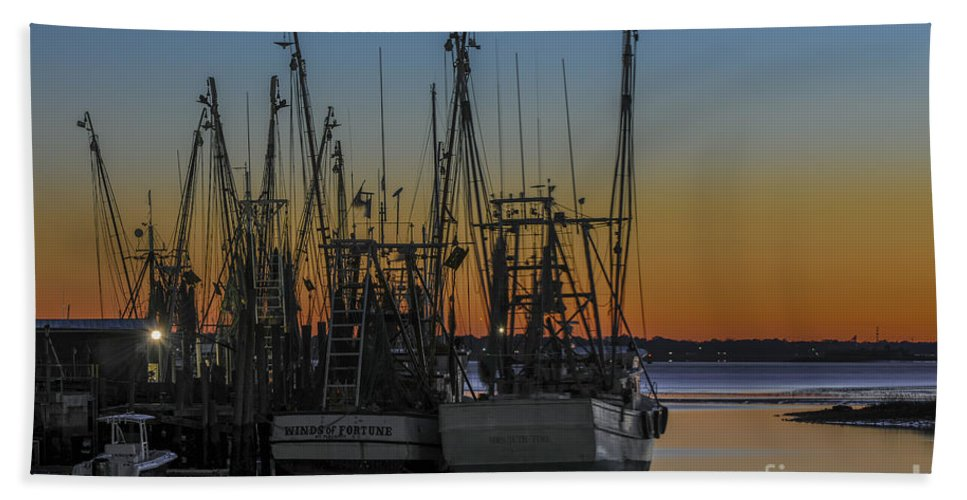 Shem Creek Hand Towel featuring the photograph Coastal Sunset by Dale Powell