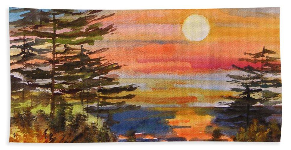 Sunset Bath Sheet featuring the painting Coastal Sunset by John Williams