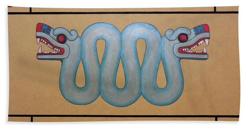 Coatl Bath Sheet featuring the painting Coatl by Lynet McDonald