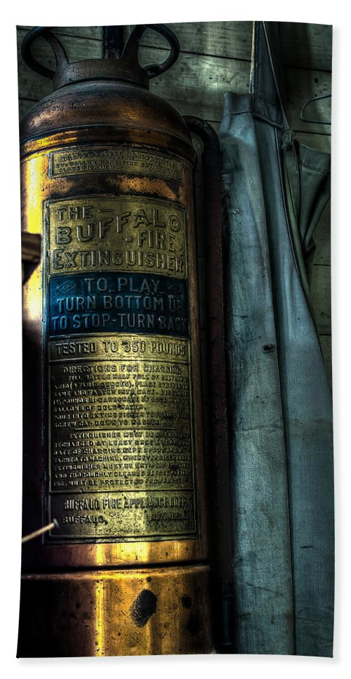 Fire Extinguisher Bath Sheet featuring the photograph Cobblers Fire Extinguisher by David Morefield