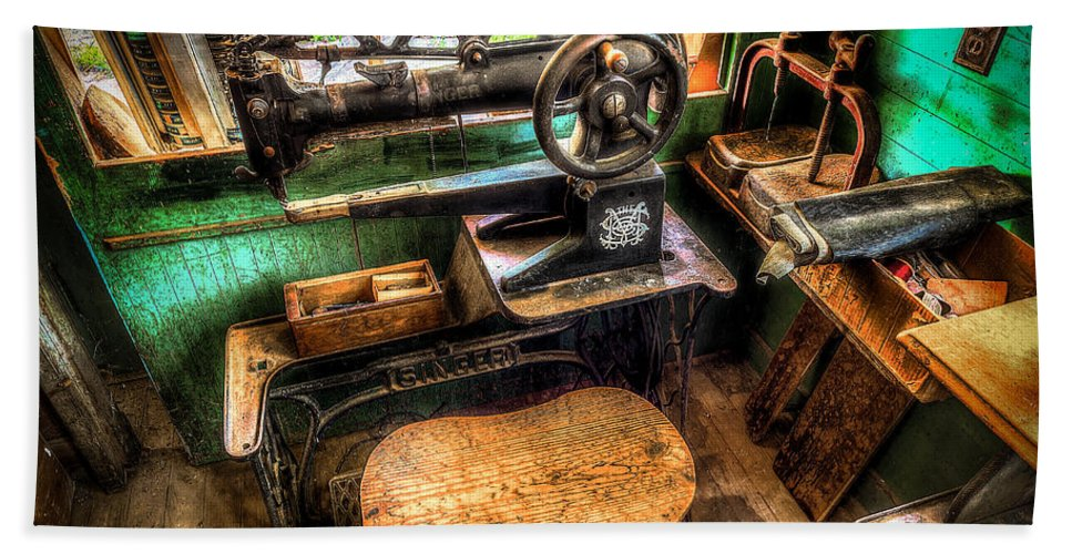 Cobbler Bath Sheet featuring the photograph Cobblers Sewing Machine by David Morefield