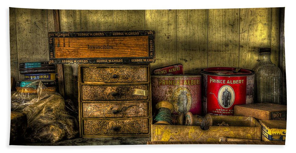 Shoe Repair Bath Sheet featuring the photograph Cobblers Tobacco by David Morefield