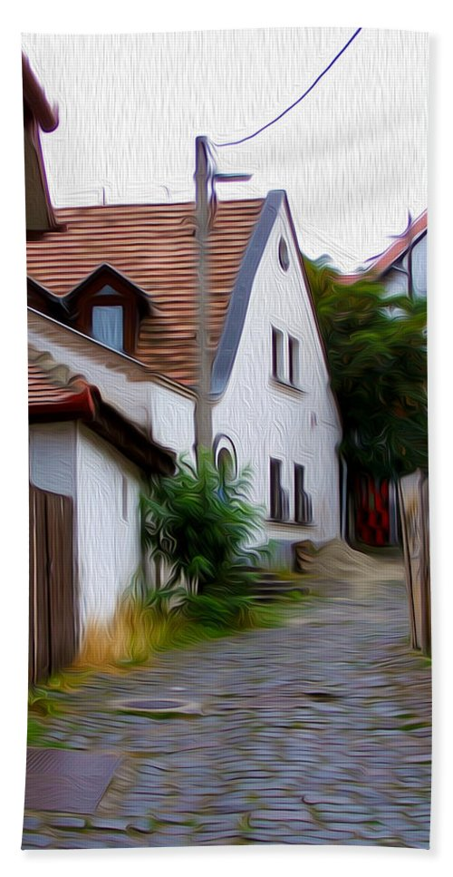 Szentendre Hand Towel featuring the photograph Cobblestone Road by Tracy Winter