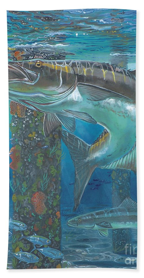 Cobia Bath Sheet featuring the painting Cobia Strike In0024 by Carey Chen