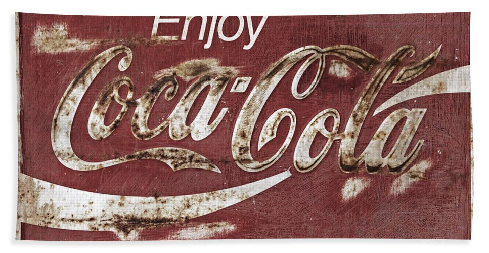 Coca Cola Bath Sheet featuring the photograph Coca Cola Faded Sign by John Stephens